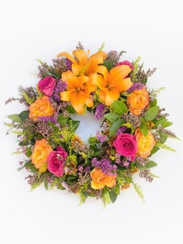 Funeral : Multicoloured Round Wreath AV