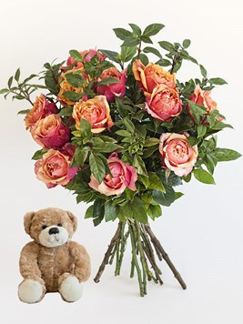 Bouquets: Orange Roses with a Small Teddy