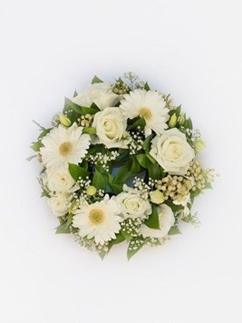Funeral : White Round Wreath AV